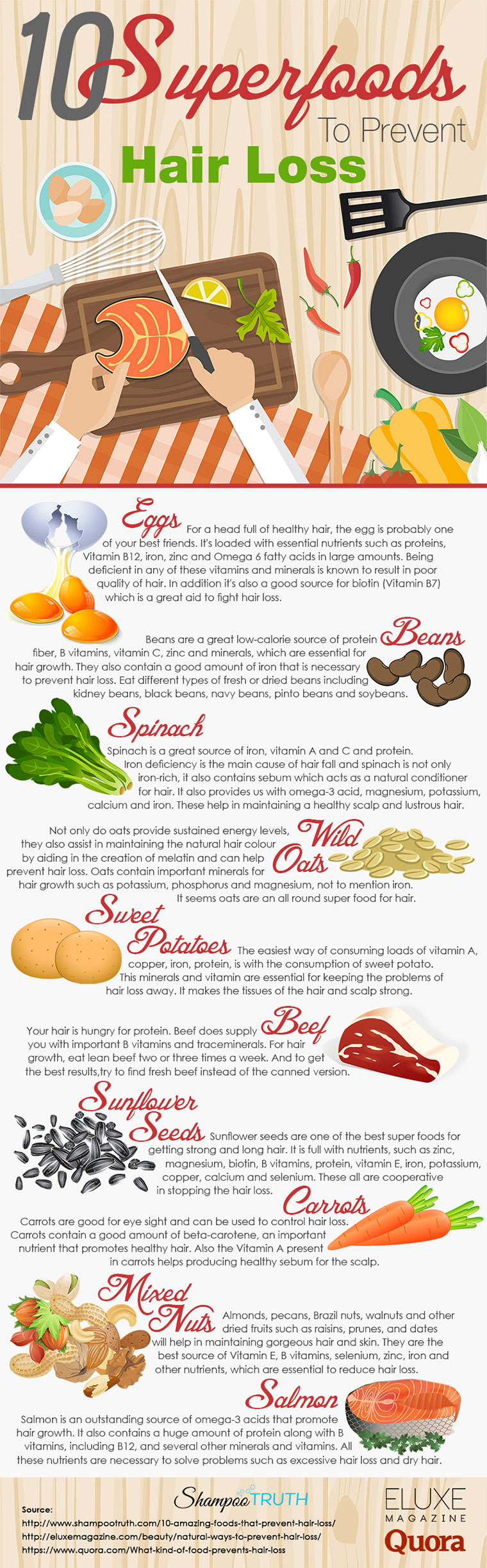 10 Superfoods To Prevent Hair Loss Infographic