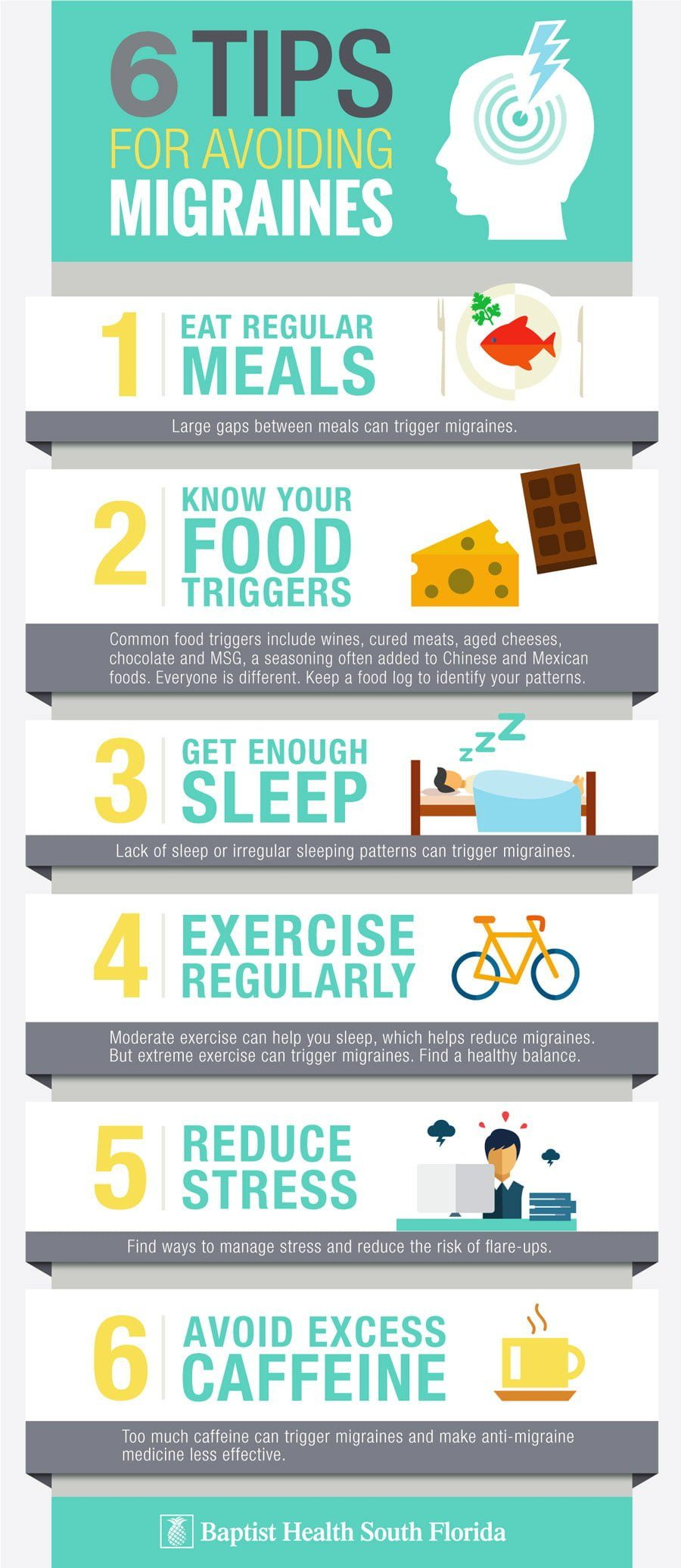 6 Tips for Avoiding Migraines Infographic