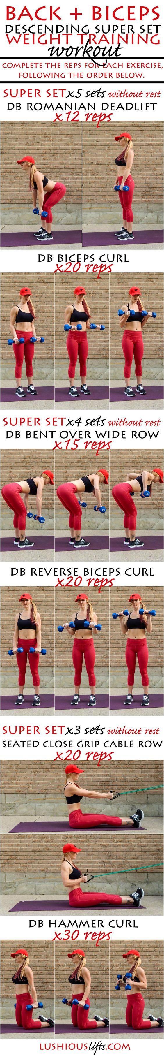 Back and Biceps Descending Super Set Workout