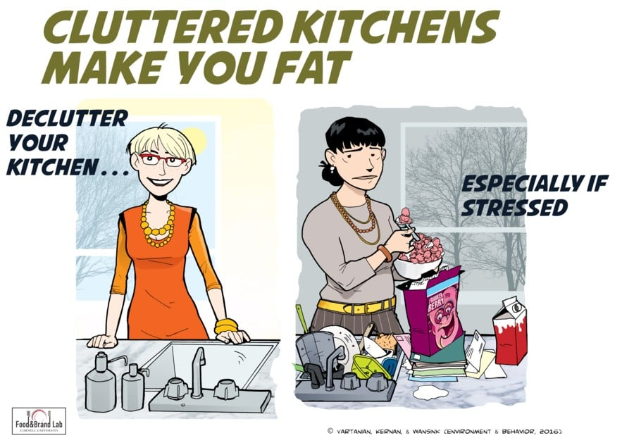 tidy kitchen to cut calories